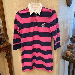 ABERCROMBIE KIDS Pink/Navy Stripes Collar Dress XL